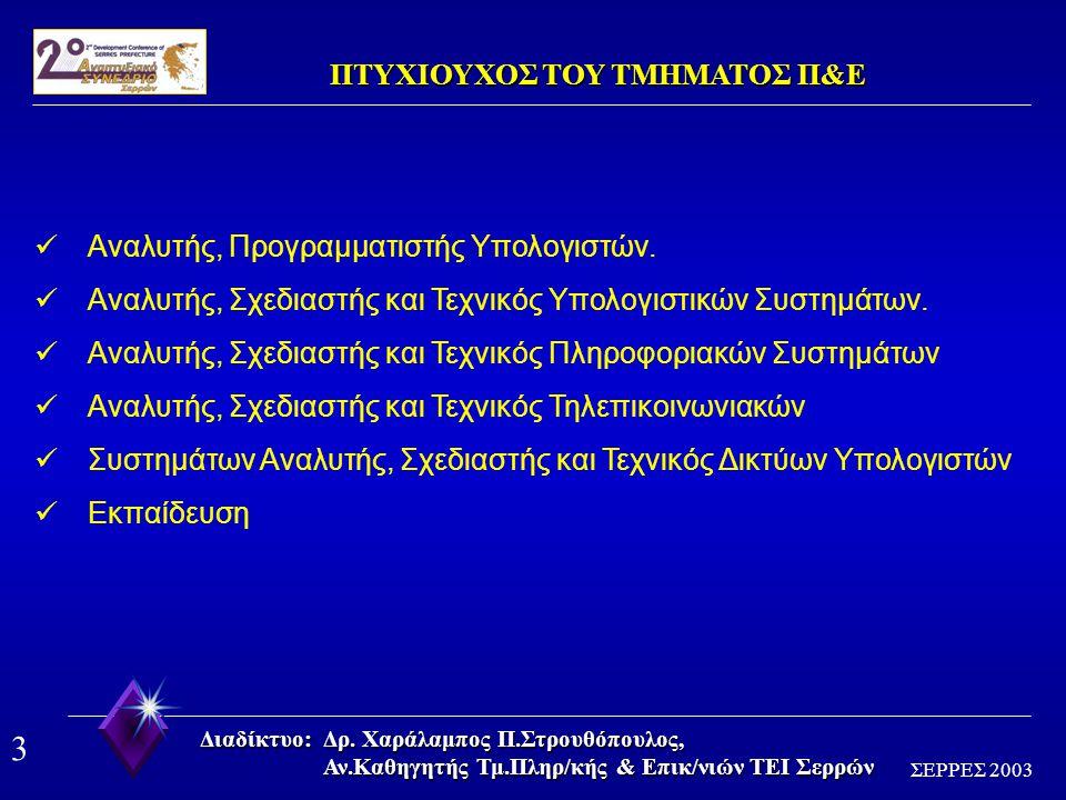 2 ΣΕΡΡΕΣ 2003 Διαδίκτυο: Δρ. Χαράλαμπος Π.Στρουθόπουλος, Αν.Καθηγητής Τμ.Πληρ/κής & Επικ/νιών ΤΕΙ Σερρών ΑΠΟΣΤΟΛΗ ΤΟΥ ΤΜΗΜΑΤΟΣ Π&Ε 30000 ΘΕΣΕΙΣ ΕΡΓΑΣΙ