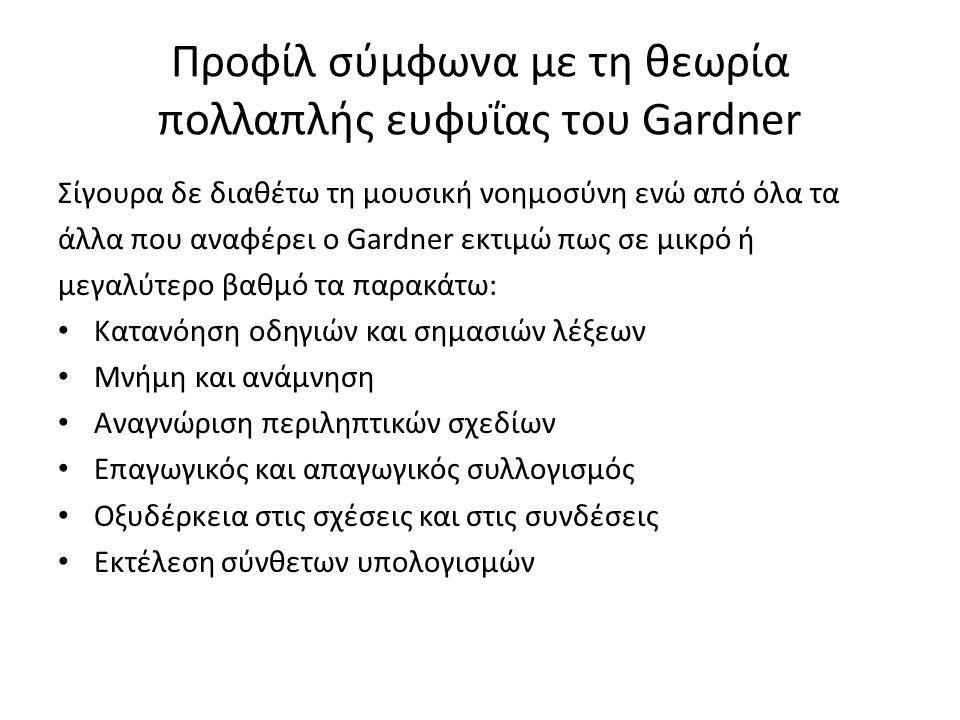 Προφίλ σύμφωνα με τη θεωρία πολλαπλής ευφυΐας του Gardner Σίγουρα δε διαθέτω τη μουσική νοημοσύνη ενώ από όλα τα άλλα που αναφέρει ο Gardner εκτιμώ πως σε μικρό ή μεγαλύτερο βαθμό τα παρακάτω: Κατανόηση οδηγιών και σημασιών λέξεων Μνήμη και ανάμνηση Αναγνώριση περιληπτικών σχεδίων Επαγωγικός και απαγωγικός συλλογισμός Οξυδέρκεια στις σχέσεις και στις συνδέσεις Εκτέλεση σύνθετων υπολογισμών