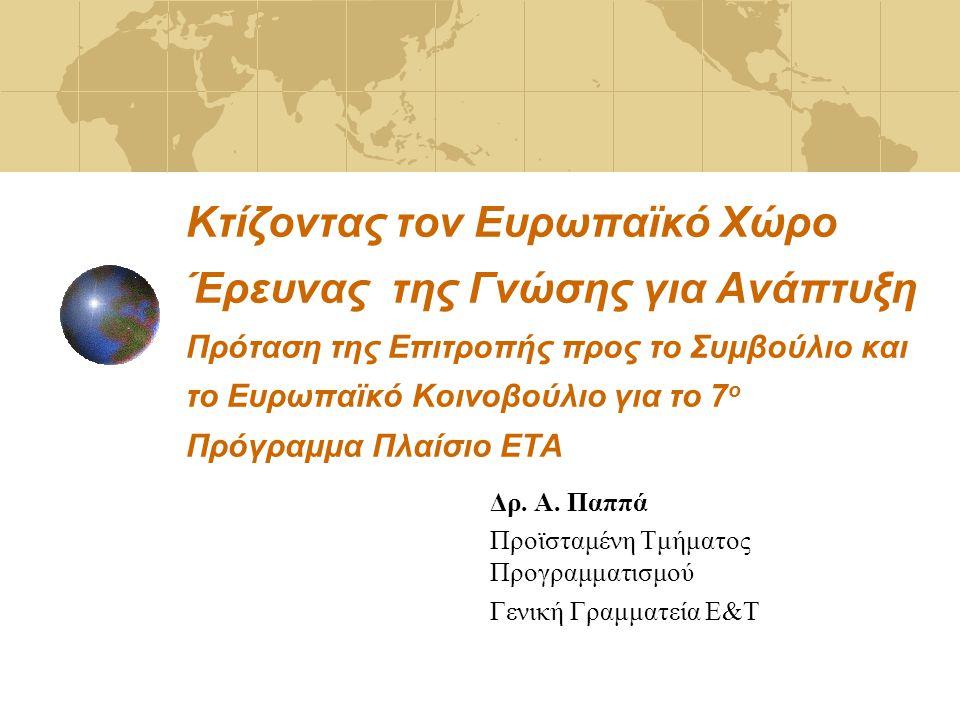 Κτίζοντας τον Ευρωπαϊκό Χώρο Έρευνας της Γνώσης για Ανάπτυξη Πρόταση της Επιτροπής προς το Συμβούλιο και το Ευρωπαϊκό Κοινοβούλιο για το 7 ο Πρόγραμμα Πλαίσιο ΕΤΑ Δρ.