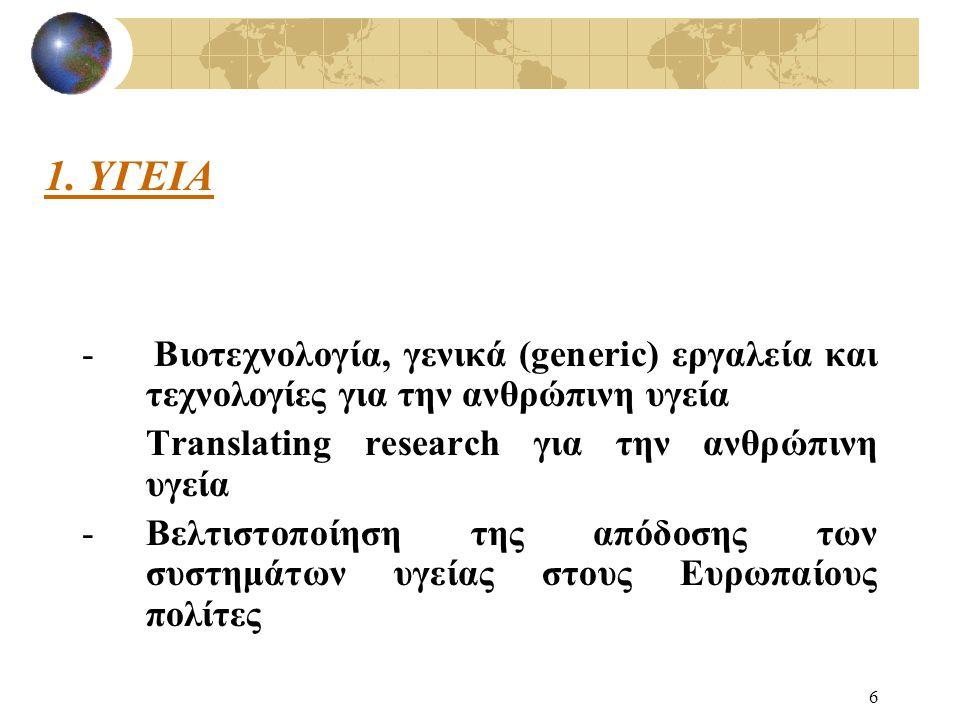 6 - Βιοτεχνολογία, γενικά (generic) εργαλεία και τεχνολογίες για την ανθρώπινη υγεία Translating research για την ανθρώπινη υγεία -Βελτιστοποίηση της απόδοσης των συστημάτων υγείας στους Ευρωπαίους πολίτες 1.
