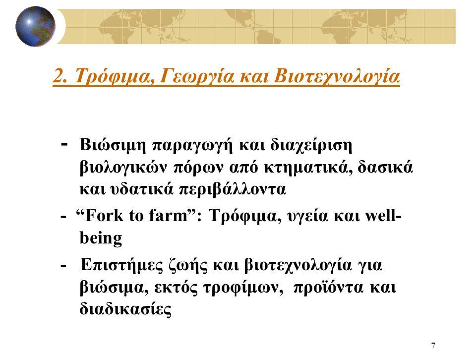 7 - Βιώσιμη παραγωγή και διαχείριση βιολογικών πόρων από κτηματικά, δασικά και υδατικά περιβάλλοντα - Fork to farm : Τρόφιμα, υγεία και well- being - Επιστήμες ζωής και βιοτεχνολογία για βιώσιμα, εκτός τροφίμων, προϊόντα και διαδικασίες 2.