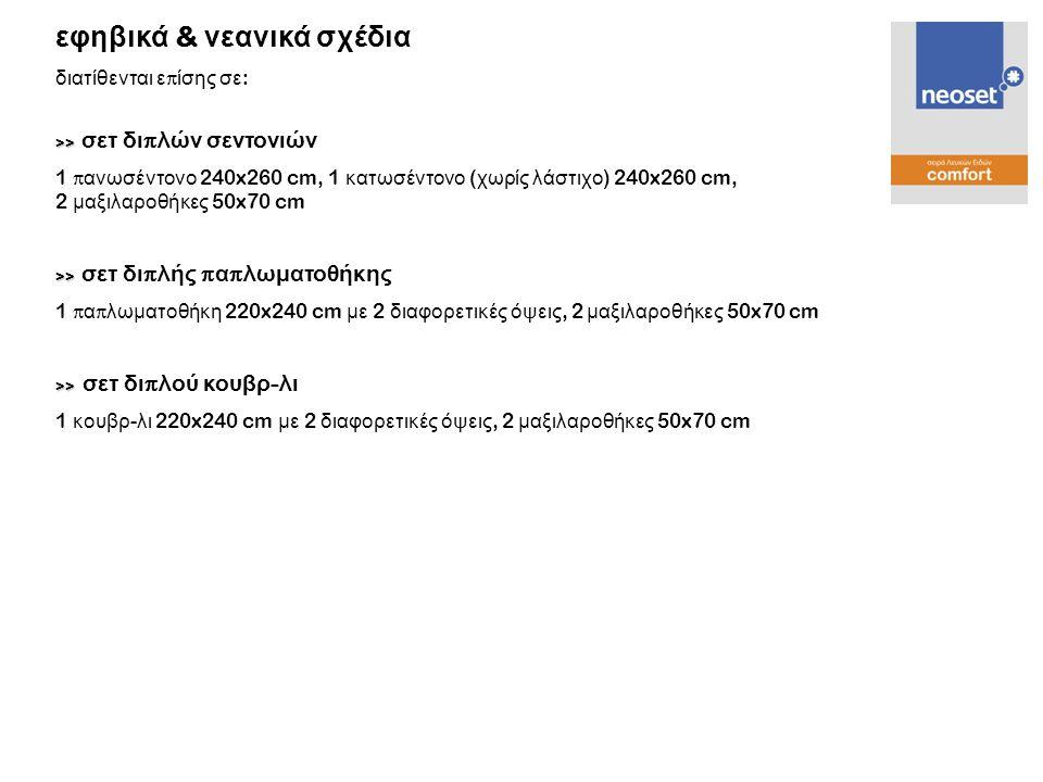 >> >> σετ δι π λών σεντονιών 1 π ανωσέντονο 240x260 cm, 1 κατωσέντονο ( χωρίς λάστιχο ) 240x260 cm, 2 μαξιλαροθήκες 50x70 cm >> >> σετ δι π λής π α π
