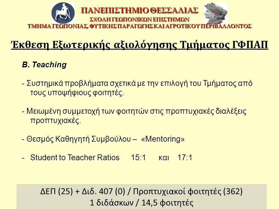 B. Teaching - Συστημικά προβλήματα σχετικά με την επιλογή του Τμήματος από τους υποψήφιους φοιτητές. - Μειωμένη συμμετοχή των φοιτητών στις προπτυχιακ