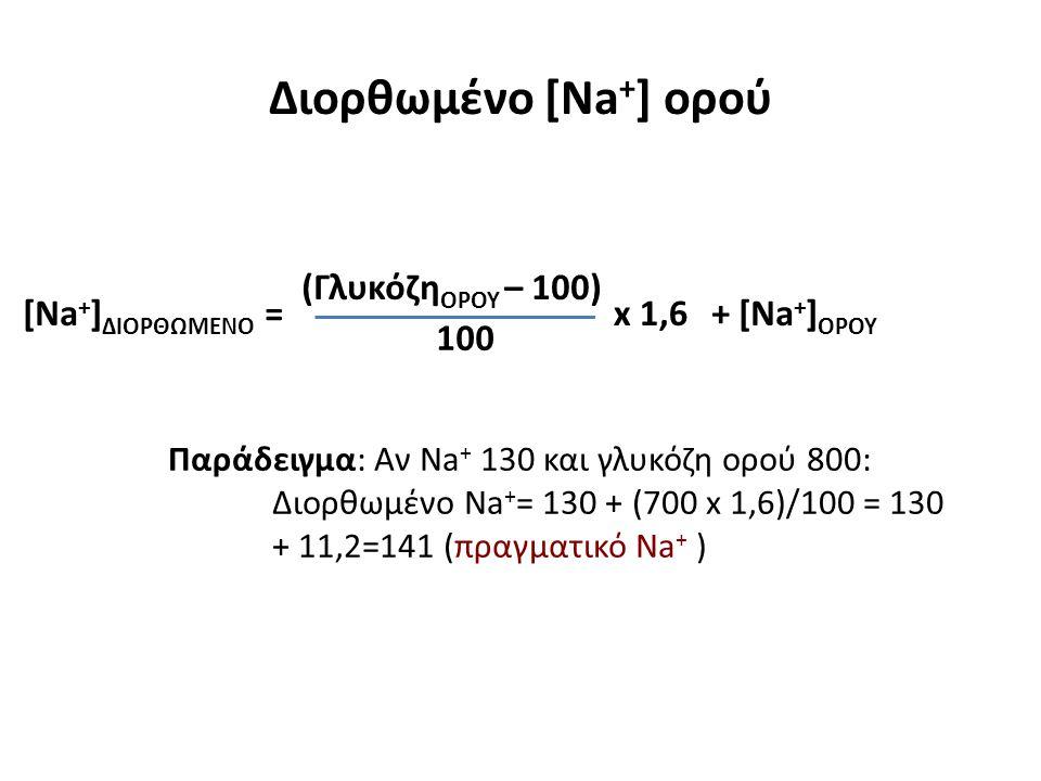 Διορθωμένο [Na + ] ορού Παράδειγμα: Αν Na + 130 και γλυκόζη ορού 800: Διορθωμένο Na + = 130 + (700 x 1,6)/100 = 130 + 11,2=141 (πραγματικό Na + ) [Na