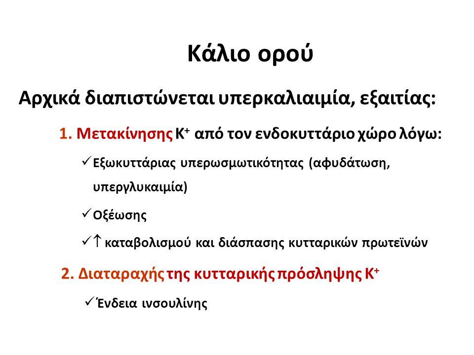 Κάλιο ορού Αρχικά διαπιστώνεται υπερκαλιαιμία, εξαιτίας: 1. Μετακίνησης K + από τον ενδοκυττάριο χώρο λόγω: Εξωκυττάριας υπερωσμωτικότητας (αφυδάτωση,
