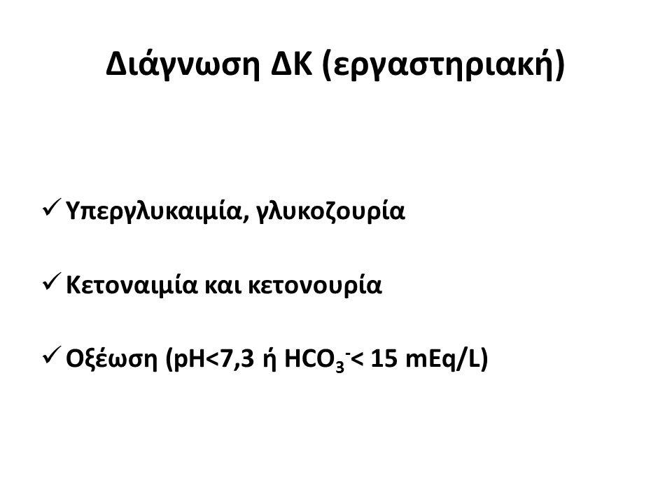 Διάγνωση ΔΚ (εργαστηριακή) Υπεργλυκαιμία, γλυκοζουρία Κετοναιμία και κετονουρία Οξέωση (pH<7,3 ή HCO 3 - < 15 mEq/L)