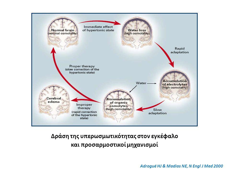 Δράση της υπερωσμωτικότητας στον εγκέφαλο και προσαρμοστικοί μηχανισμοί Adrogué HJ & Madias NE, N Engl J Med 2000