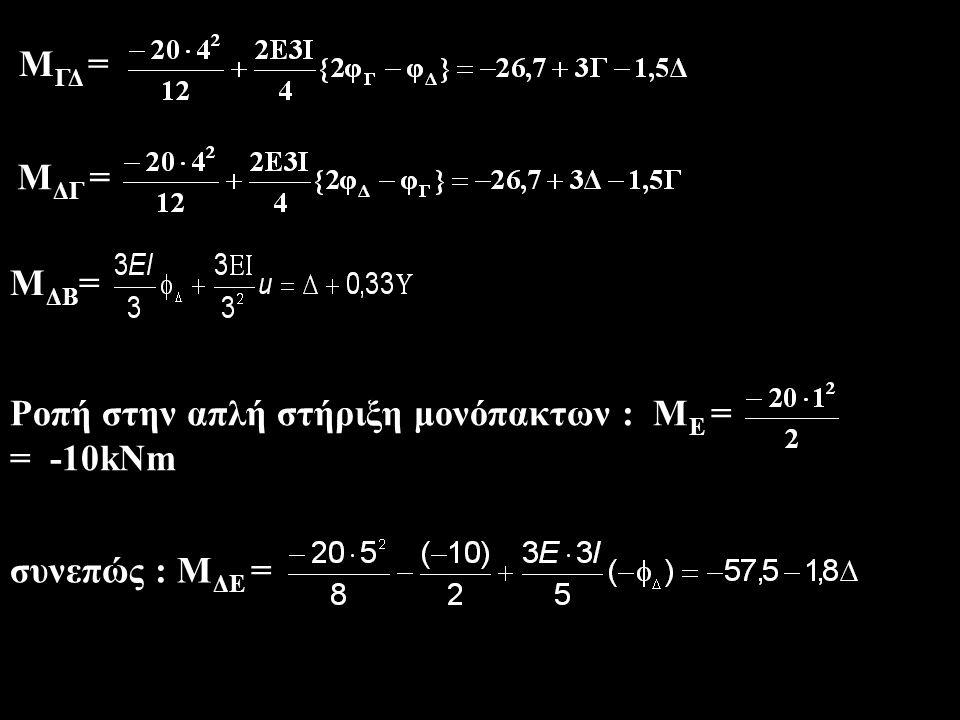Εξισώσεις συμβιβαστού Μ ΓΔ Μ ΓΑ Μ ΓΑ = Μ ΓΔ  -1,33Γ + 0,67Υ = -26,7 + 3Γ - 1,5Δ  4,33Γ - 1,5Δ - 0,67Υ = 26,7 (1) Μ ΔΕ Μ ΔΓ Μ ΔΒ Μ ΔΓ + Μ ΔΒ = Μ ΔΕ  …  -1,5Γ + 5,8Δ + 0,33Υ = -30,8 (2) V ΓΑ V ΔΒ Ισορροπία ζυγώματος ΣF X = 0  V ΓΑ + V ΔΒ = 0.