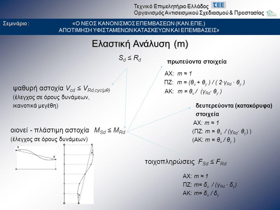 Ανελαστική Ανάλυση (Στατική ή Δυναμική) θ Sd ≤ θ Rd S d ≤ R d oιονεί - πλάστιμη αστοχία (έλεγχος σε όρους παραμορφώσεων) V sd ≤ V Rd,cyc(μθ) ψαθυρή αστοχία (έλεγχος σε όρους δυνάμεων) πρωτεύοντα στοιχεία ΠΖ: θ Rd = (θ u + θ y ) / (2∙γ Rd ) Σεμινάριο : « Σεμινάριο : «Ο ΝΕΟΣ ΚΑΝΟΝΙΣΜΟΣ ΕΠΕΜΒΑΣΕΩΝ (ΚΑΝ.ΕΠΕ.) » ΑΠΟΤΙΜΗΣΗ ΥΦΙΣΤΑΜΕΝΩΝ ΚΑΤΑΣΚΕΥΩΝ ΚΑΙ ΕΠΕΜΒΑΣΕΙΣ» Τεχνικό Επιμελητήριο Ελλάδος Οργανισμός Αντισεισμικού Σχεδιασμού & Προστασίας δευτερεύοντα (κατακόρυφα) στοιχεία ΑΧ: θ Rd = θ y (ΠΖ: θ Rd = θ u / γ Rd ) (ΑΚ: θ Rd = θ u ) τοιχοπληρώσεις (έλεγχος σε όρους παραμορφώσεων) δ Sd ≤ δ Rd = δ u / γ Rd ΑΚ: θ Rd = θ u / γ Rd ΑΧ: θ Rd = θ y ΑΧ: δ Rd = δ y ΠΖ: δ Rd = δ u / γ Rd ΑΚ: δ Rd = δ u