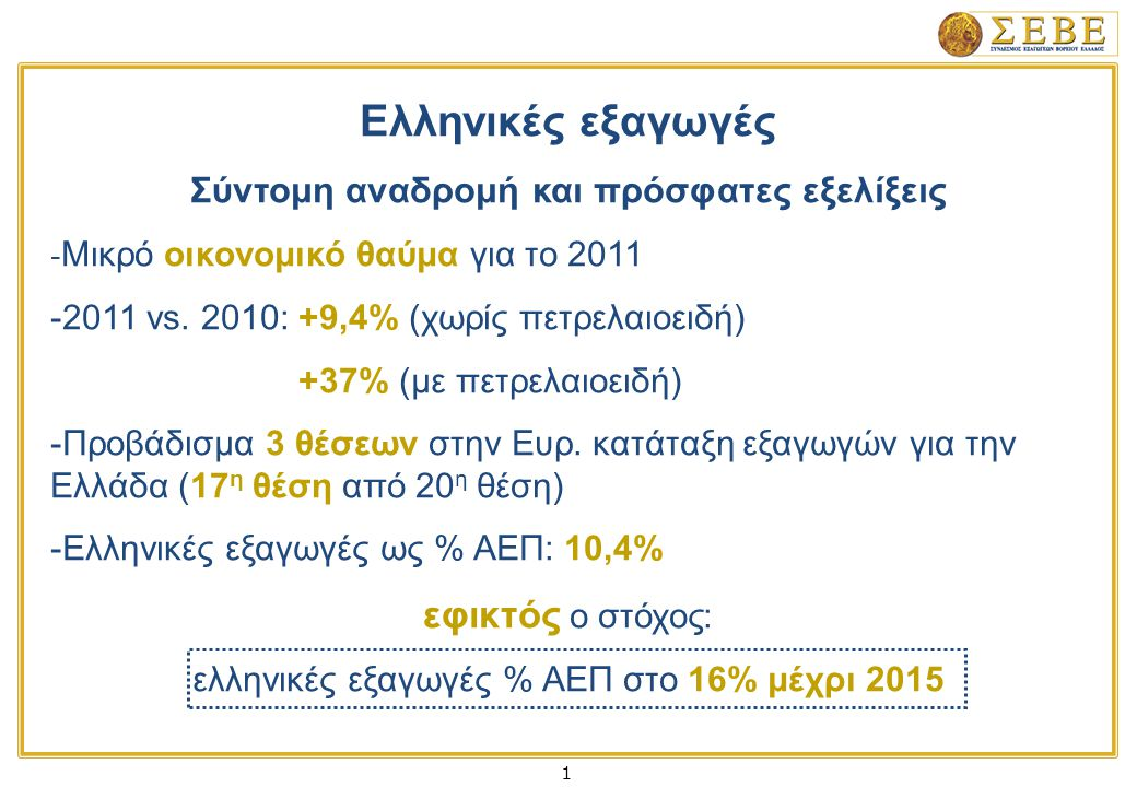 1 Ελληνικές εξαγωγές Σύντομη αναδρομή και πρόσφατες εξελίξεις - Μικρό οικονομικό θαύμα για το 2011 -2011 vs.