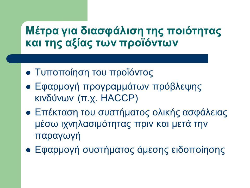 Μέτρα για διασφάλιση της ποιότητας και της αξίας των προϊόντων Τυποποίηση του προϊόντος Εφαρμογή προγραμμάτων πρόβλεψης κινδύνων (π.χ.