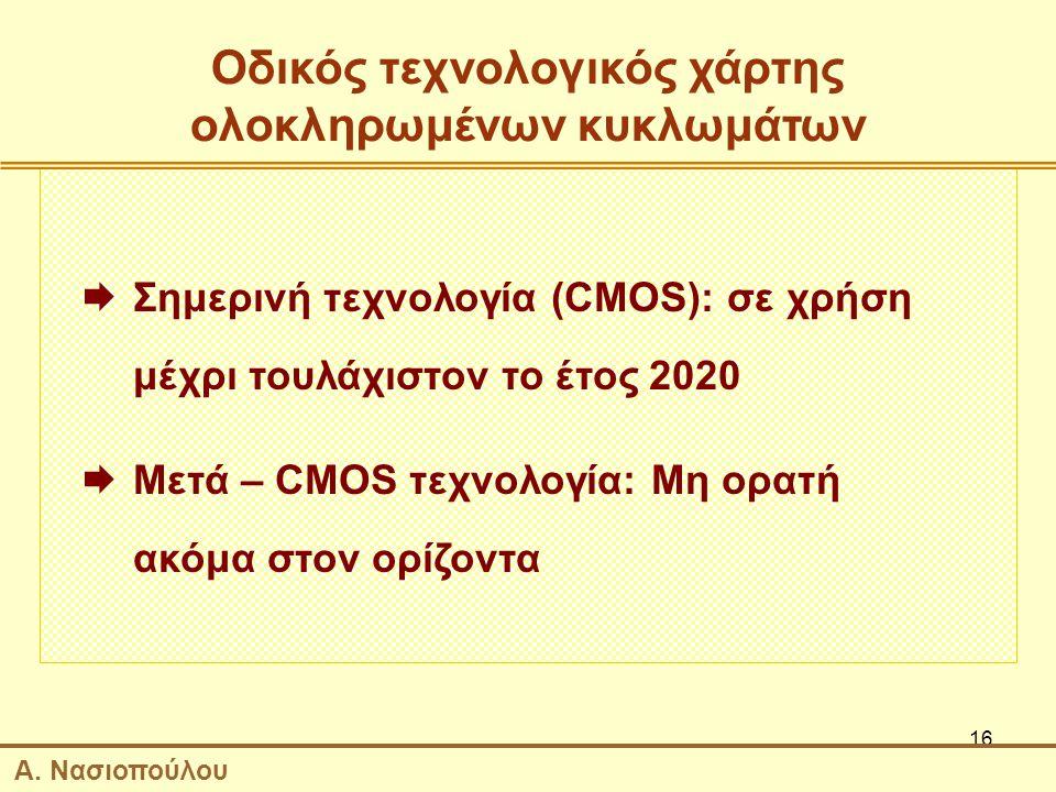 16 Οδικός τεχνολογικός χάρτης ολοκληρωμένων κυκλωμάτων  Σημερινή τεχνολογία (CMOS): σε χρήση μέχρι τουλάχιστον το έτος 2020  Μετά – CMOS τεχνολογία: Μη ορατή ακόμα στον ορίζοντα Α.