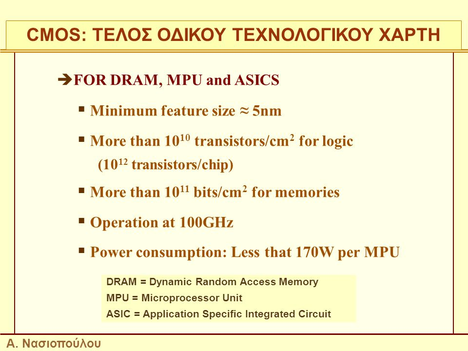 23  FOR DRAM, MPU and ASICS  Minimum feature size ≈ 5nm  More than 10 10 transistors/cm 2 for logic (10 12 transistors/chip)  More than 10 11 bits