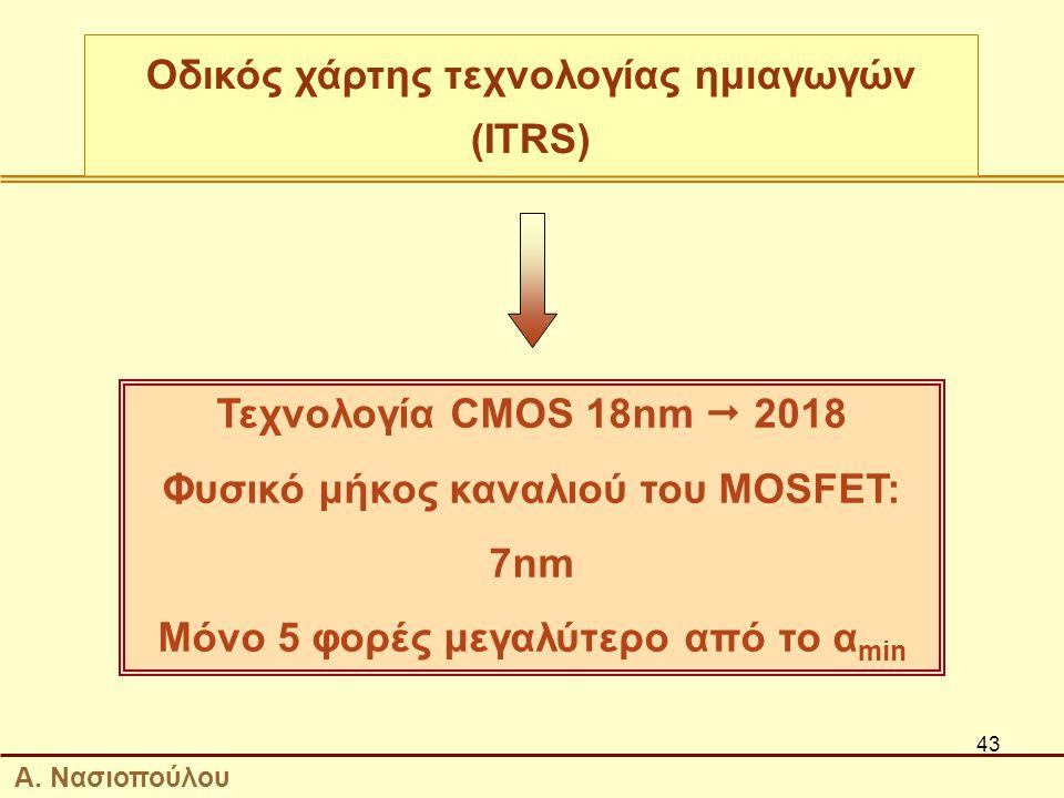 43 Τεχνολογία CMOS 18nm  2018 Φυσικό μήκος καναλιού του MOSFET: 7nm Μόνο 5 φορές μεγαλύτερο από το α min Οδικός χάρτης τεχνολογίας ημιαγωγών (ITRS) Α.