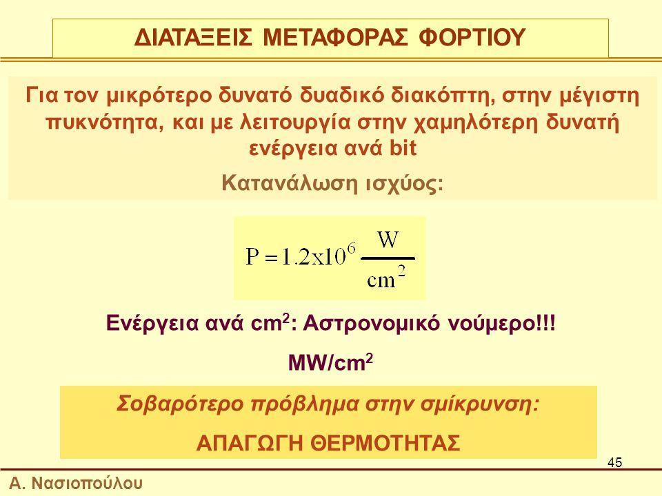 45 Για τον μικρότερο δυνατό δυαδικό διακόπτη, στην μέγιστη πυκνότητα, και με λειτουργία στην χαμηλότερη δυνατή ενέργεια ανά bit Κατανάλωση ισχύος: Ενέργεια ανά cm 2 : Αστρονομικό νούμερο!!.