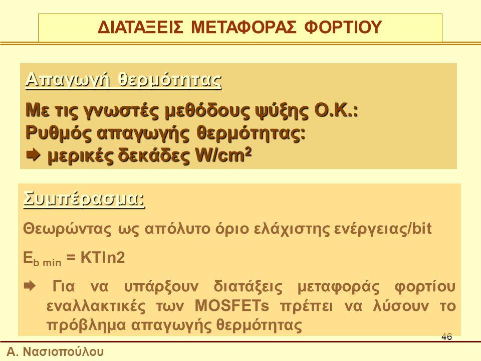 46 Απαγωγή θερμότητας Με τις γνωστές μεθόδους ψύξης Ο.Κ.: Ρυθμός απαγωγής θερμότητας:  μερικές δεκάδες W/cm 2 Συμπέρασμα: Θεωρώντας ως απόλυτο όριο ελάχιστης ενέργειας/bit E b min = KTln2  Για να υπάρξουν διατάξεις μεταφοράς φορτίου εναλλακτικές των MOSFETs πρέπει να λύσουν το πρόβλημα απαγωγής θερμότητας ΔΙΑΤΑΞΕΙΣ ΜΕΤΑΦΟΡΑΣ ΦΟΡΤΙΟΥ Α.