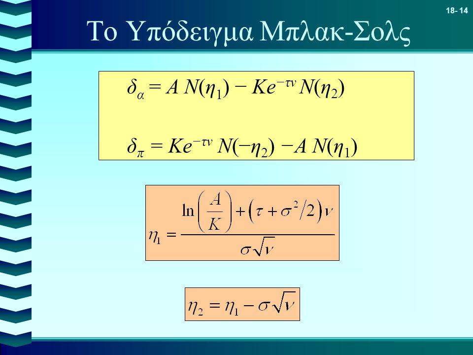 18- 14 Το Υπόδειγμα Μπλακ-Σολς δ α = Α N(η 1 ) − Κe −τν N(η 2 ) δ π = Κe −τν N(−η 2 ) −Α Ν(η 1 )