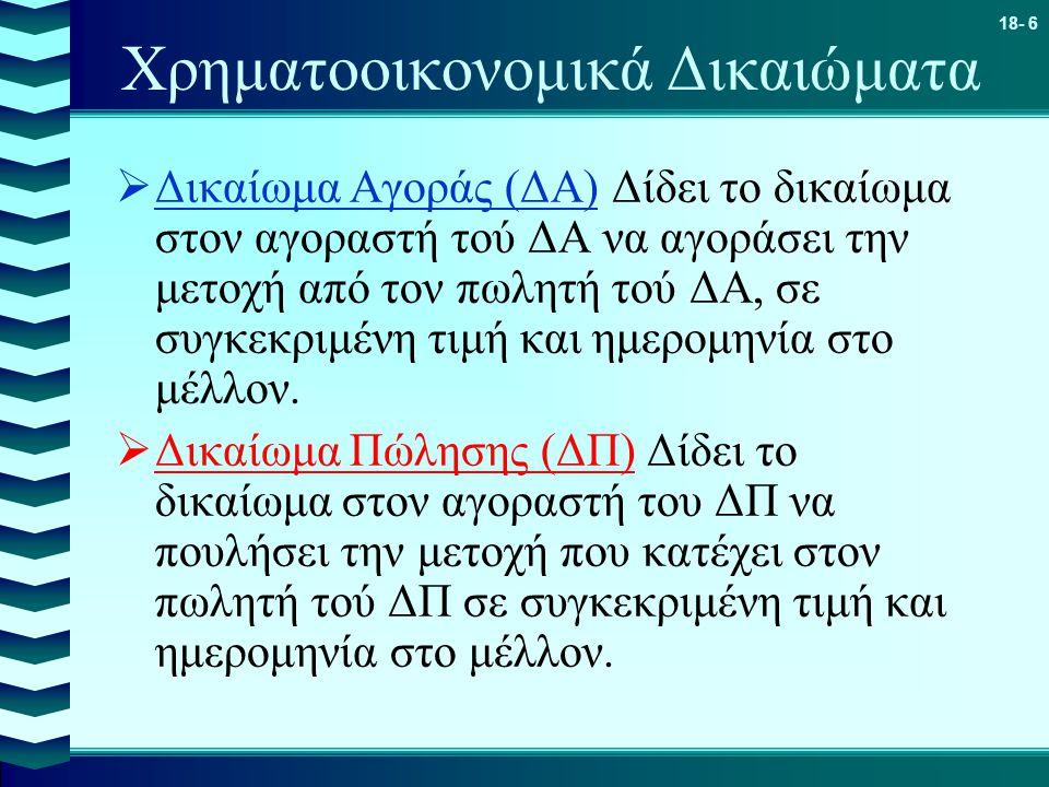 18- 6 Χρηματοοικονομικά Δικαιώματα  Δικαίωμα Αγοράς (ΔΑ) Δίδει το δικαίωμα στον αγοραστή τού ΔΑ να αγοράσει την μετοχή από τον πωλητή τού ΔΑ, σε συγκ