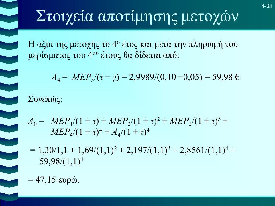 4- 21 Στοιχεία αποτίμησης μετοχών Η αξία της μετοχής το 4 ο έτος και μετά την πληρωμή του μερίσματος του 4 ου έτους θα δίδεται από: Α 4 = ΜΕΡ 5 /(τ −