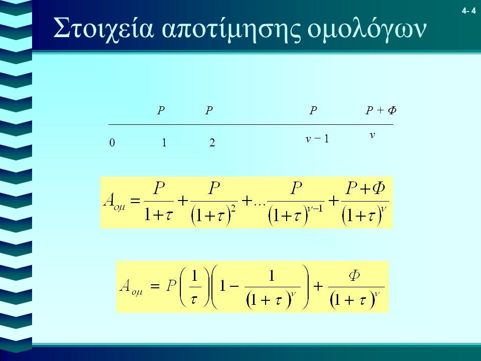 4- 4 Στοιχεία αποτίμησης ομολόγων 01 ν − 1 ν ΡΡΡΡ + Φ 2