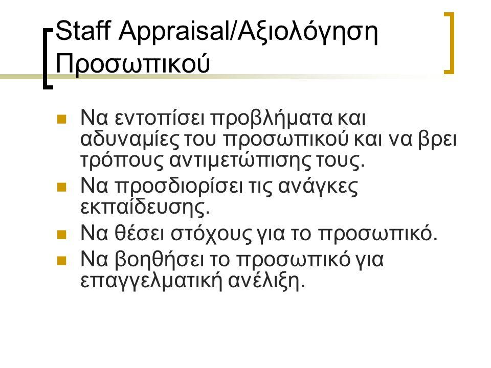 Staff Appraisal/Αξιολόγηση Προσωπικού Να εντοπίσει προβλήματα και αδυναμίες του προσωπικού και να βρει τρόπους αντιμετώπισης τους. Να προσδιορίσει τις