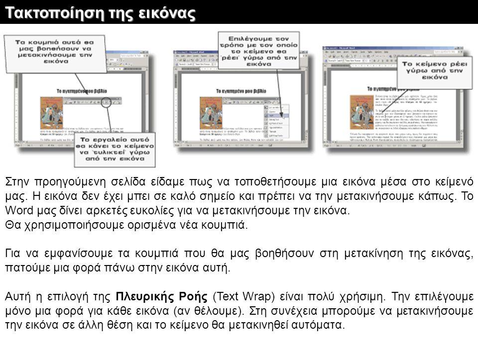 Στην προηγούμενη σελίδα είδαμε πως να τοποθετήσουμε μια εικόνα μέσα στο κείμενό μας. Η εικόνα δεν έχει μπει σε καλό σημείο και πρέπει να την μετακινήσ