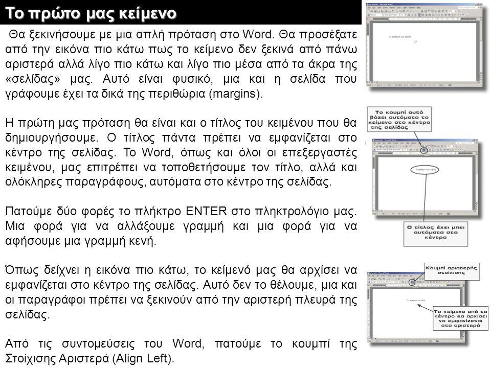 Θα ξεκινήσουμε με μια απλή πρόταση στο Word. Θα προσέξατε από την εικόνα πιο κάτω πως το κείμενο δεν ξεκινά από πάνω αριστερά αλλά λίγο πιο κάτω και λ