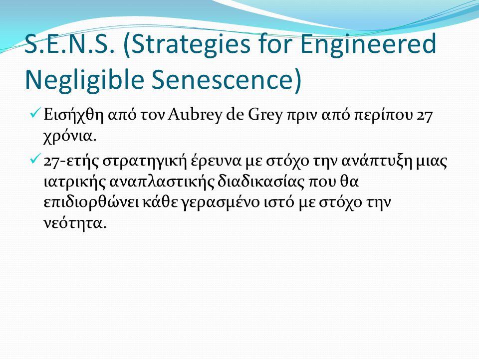 S.E.N.S. (Strategies for Engineered Negligible Senescence) Εισήχθη από τον Aubrey de Grey πριν από περίπου 27 χρόνια. 27-ετής στρατηγική έρευνα με στό