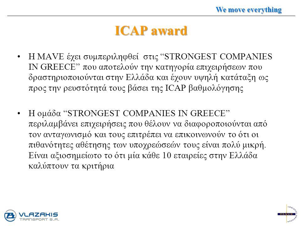 "ICAP award Η MAVE έχει συμπεριληφθεί στις ""STRONGEST COMPANIES IN GREECE"" που αποτελούν την κατηγορία επιχειρήσεων που δραστηριοποιούνται στην Ελλάδα"