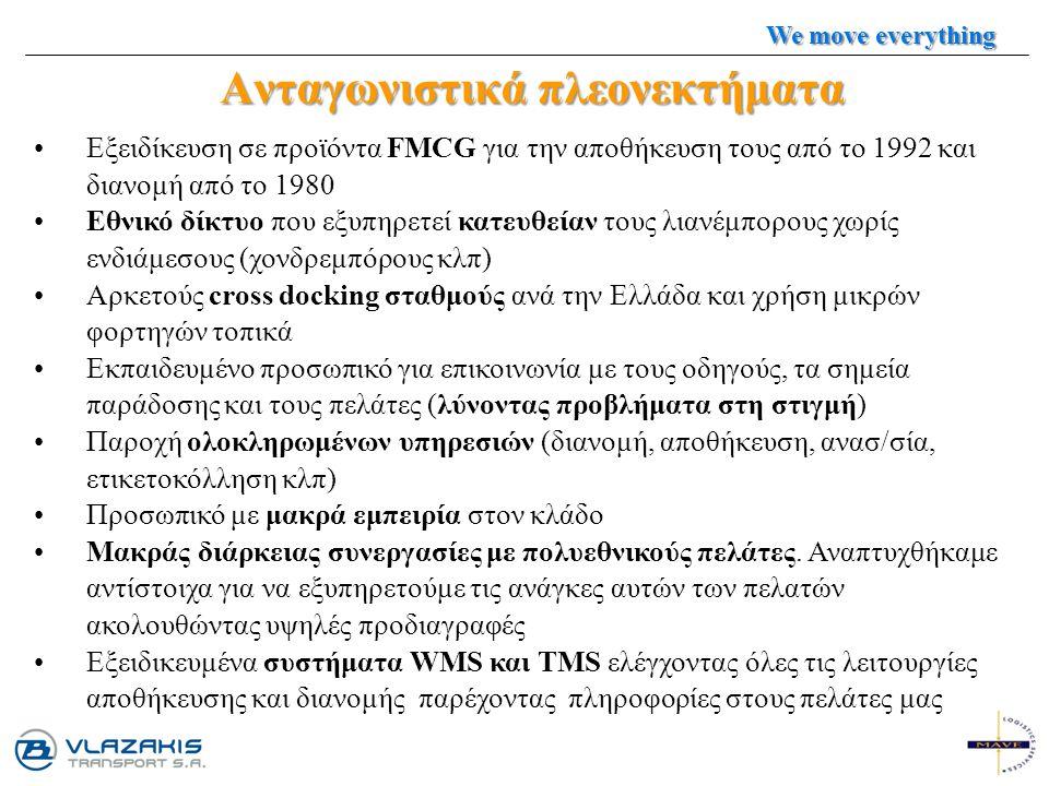 Ανταγωνιστικά πλεονεκτήματα Εξειδίκευση σε προϊόντα FMCG για την αποθήκευση τους από το 1992 και διανομή από το 1980 Εθνικό δίκτυο που εξυπηρετεί κατε