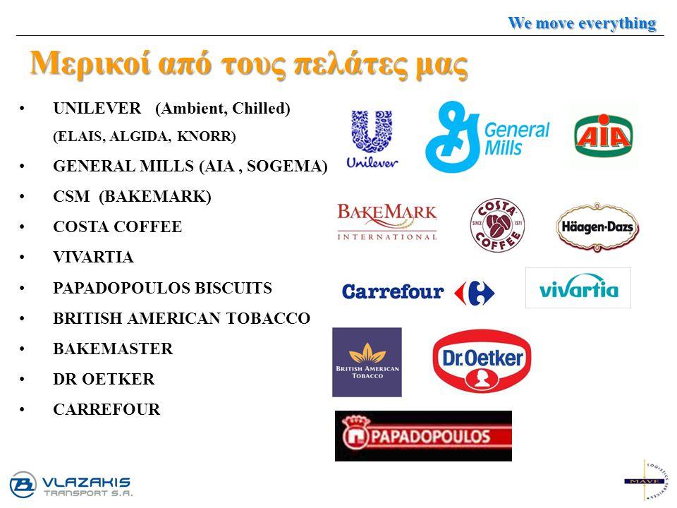 Μερικοί από τους πελάτες μας UNILEVER (Ambient, Chilled) (ELAIS, ALGIDA, KNORR) GENERAL MILLS (AIA, SOGEMA) CSM (BAKEMARK) COSTA COFFEE VIVARTIA PAPAD