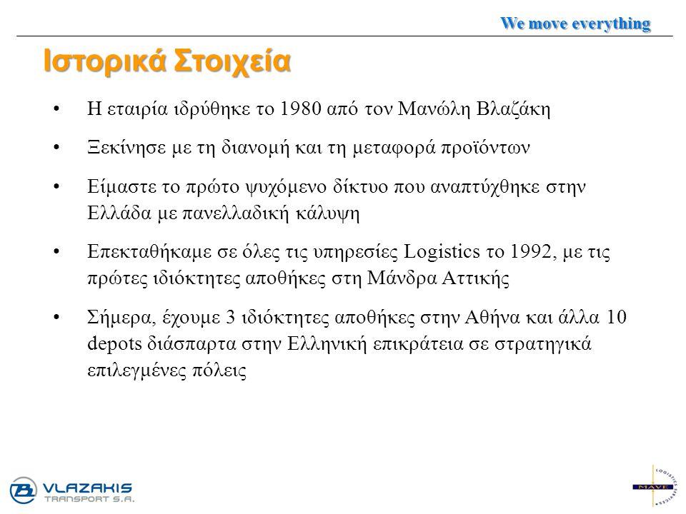 Ιστορικά Στοιχεία Η εταιρία ιδρύθηκε το 1980 από τον Μανώλη Βλαζάκη Ξεκίνησε με τη διανομή και τη μεταφορά προϊόντων Είμαστε το πρώτο ψυχόμενο δίκτυο