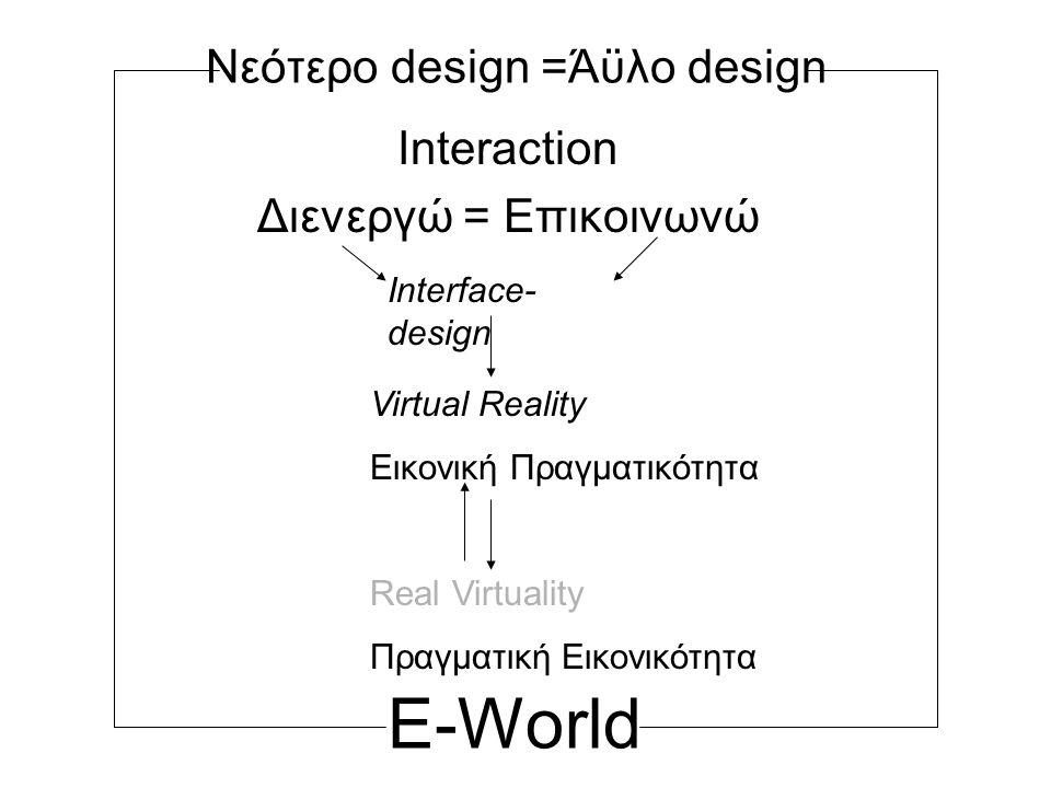 Νεότερο design =Άϋλο design Interaction Διενεργώ = Επικοινωνώ Interface- design Virtual Reality Εικονική Πραγματικότητα Real Virtuality Πραγματική Εικονικότητα E-World