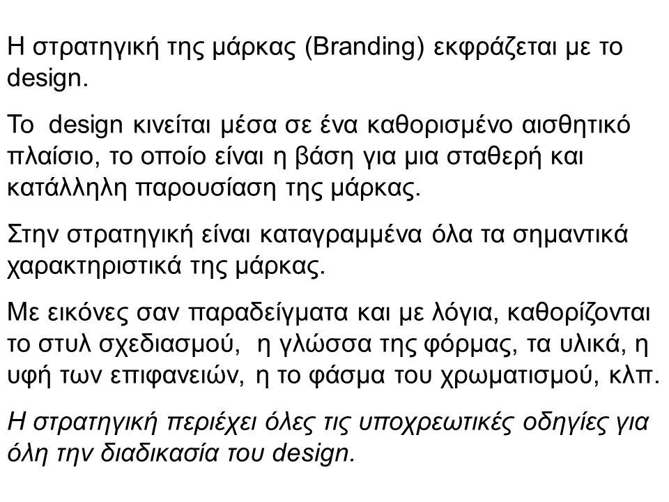 Η στρατηγική της μάρκας (Branding) εκφράζεται με το design. Το design κινείται μέσα σε ένα καθορισμένο αισθητικό πλαίσιο, το οποίο είναι η βάση για μι