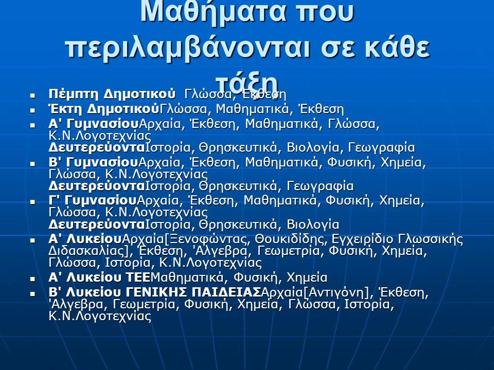 Μαθήματα που περιλαμβάνονται σε κάθε τάξη Πέμπτη Δημοτικού Γλώσσα, Έκθεση Πέμπτη Δημοτικού Γλώσσα, Έκθεση Έκτη ΔημοτικούΓλώσσα, Μαθηματικά, Έκθεση Έκτ