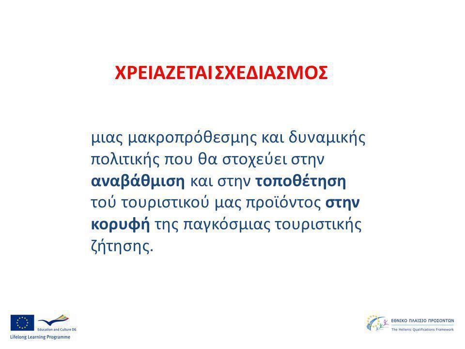 μιας μακροπρόθεσμης και δυναμικής πολιτικής που θα στοχεύει στην αναβάθμιση και στην τοποθέτηση τού τουριστικού μας προϊόντος στην κορυφή της παγκόσμι