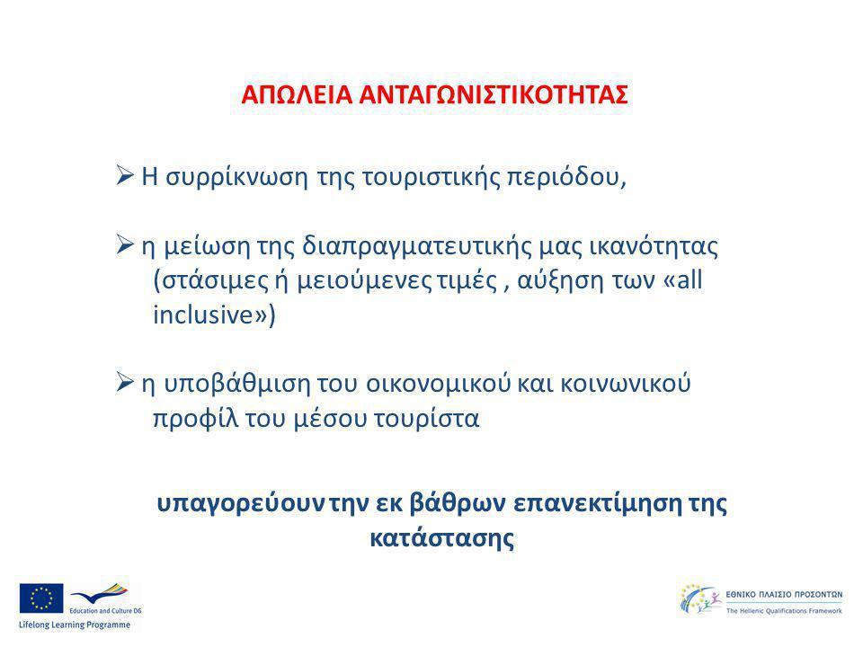 Η συρρίκνωση της τουριστικής περιόδου,  η μείωση της διαπραγματευτικής μας ικανότητας (στάσιμες ή μειούμενες τιμές, αύξηση των «all inclusive»)  η