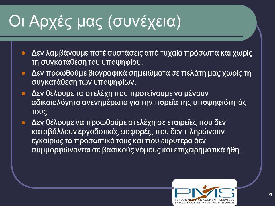 5 Γενικά Στοιχεία Η PMS ιδρύθηκε το 1989 από τον Νίκο Χιώτη Επαγγελματική Δραστηριότητα: Σύμβουλοι Διοίκησης Ανθρώπινων Πόρων Περιοχές Δραστηριοποίησης: Ελλάδα & Κύπρος Η PMS έχει πιστοποιηθεί από το Υπουργείο Εργασίας ως Ιδιωτικό Γραφείο Συμβούλων Εργασίας (Ι.Γ.Σ.Ε.)