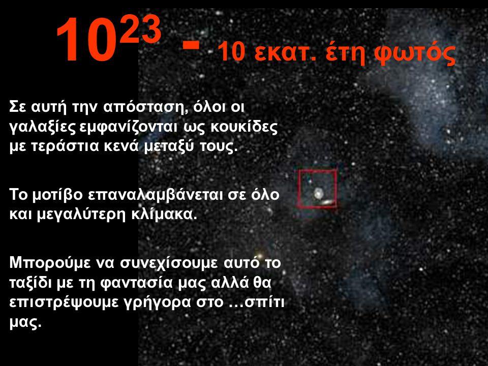 Σε αυτή την ασύλληπτη απόσταση διακρίνουμε και άλλους γαλαξίες. 10 22 1 εκατ. έτη φωτός