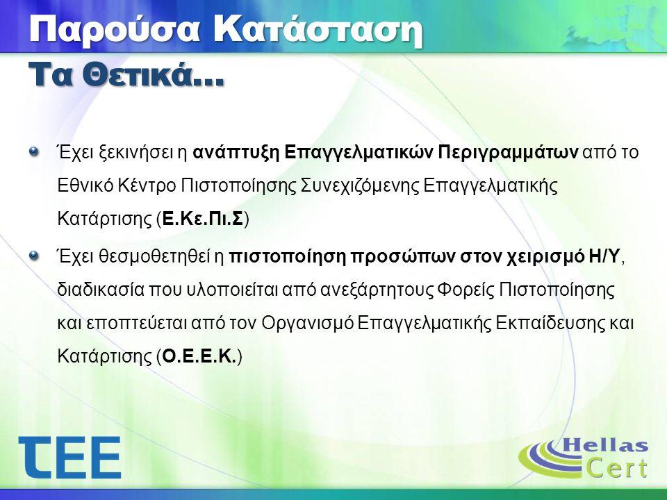Έχει ξεκινήσει η ανάπτυξη Επαγγελματικών Περιγραμμάτων από το Εθνικό Κέντρο Πιστοποίησης Συνεχιζόμενης Επαγγελματικής Κατάρτισης (Ε.Κε.Πι.Σ) Έχει θεσμοθετηθεί η πιστοποίηση προσώπων στον χειρισμό Η/Υ, διαδικασία που υλοποιείται από ανεξάρτητους Φορείς Πιστοποίησης και εποπτεύεται από τον Οργανισμό Επαγγελματικής Εκπαίδευσης και Κατάρτισης (Ο.Ε.Ε.Κ.) Παρούσα Κατάσταση Τα Θετικά…