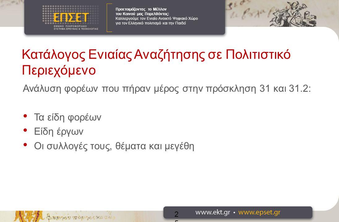 Προετοιμάζοντας το Μέλλον του Κοινού μας Παρελθόντος: Καλλιεργούμε τον Ενιαίο Ανοικτό Ψηφιακό Χώρο για τον Ελληνικό πολιτισμό και την Παιδεί Κατάλογος Ενιαίας Αναζήτησης σε Πολιτιστικό Περιεχόμενο Ανάλυση φορέων που πήραν μέρος στην πρόσκληση 31 και 31.2: Τα είδη φορέων Είδη έργων Οι συλλογές τους, θέματα και μεγέθη 25