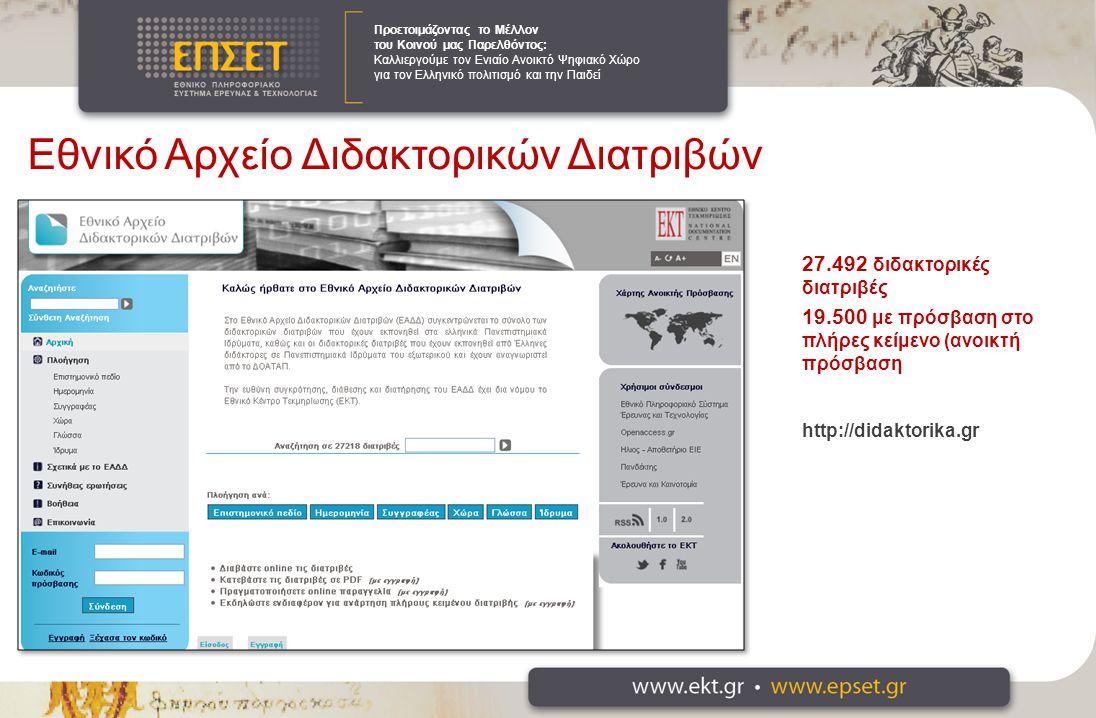 Προετοιμάζοντας το Μέλλον του Κοινού μας Παρελθόντος: Καλλιεργούμε τον Ενιαίο Ανοικτό Ψηφιακό Χώρο για τον Ελληνικό πολιτισμό και την Παιδεί 27.492 διδακτορικές διατριβές 19.500 με πρόσβαση στο πλήρες κείμενο (ανοικτή πρόσβαση http://didaktorika.gr Εθνικό Αρχείο Διδακτορικών Διατριβών