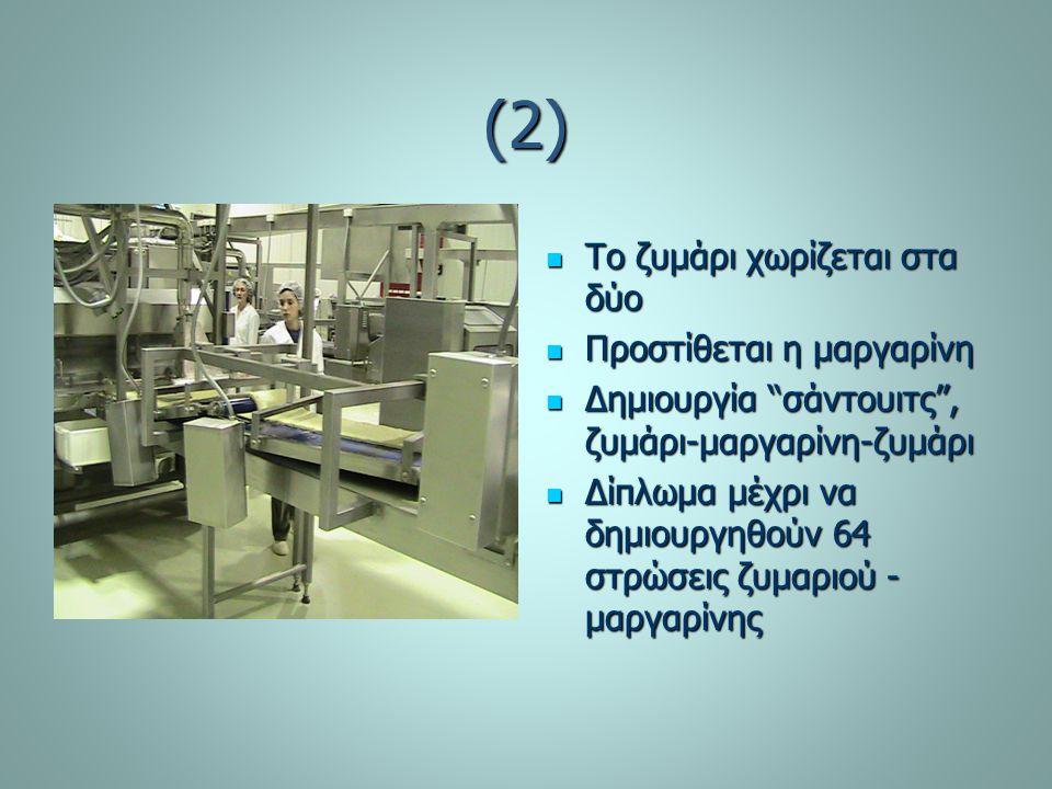 (3) Η σφολιάτα κόβεται στις επιθυμητές διαστάσεις Η σφολιάτα κόβεται στις επιθυμητές διαστάσεις Συσκευάζεται Συσκευάζεται Επισημαίνεται η συσκευασία, (ημερομηνία, κωδικός…) Επισημαίνεται η συσκευασία, (ημερομηνία, κωδικός…) Περνάει από ανιχνευτή μετάλλων Περνάει από ανιχνευτή μετάλλων Αποθηκεύται στους -18 C Αποθηκεύται στους -18 C