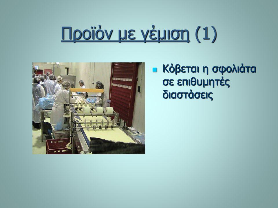 Προϊόν με γέμιση (1) Κόβεται η σφολιάτα σε επιθυμητές διαστάσεις Κόβεται η σφολιάτα σε επιθυμητές διαστάσεις