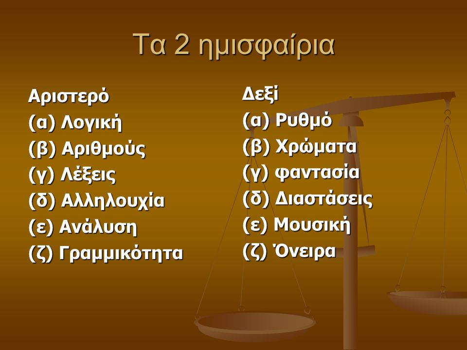 Τα 2 ημισφαίρια Αριστερό (α) Λογική (α) Λογική (β) Αριθμούς (γ) Λέξεις (γ) Λέξεις (δ) Αλληλουχία (δ) Αλληλουχία (ε) Ανάλυση (ε) Ανάλυση (ζ) Γραμμικότη