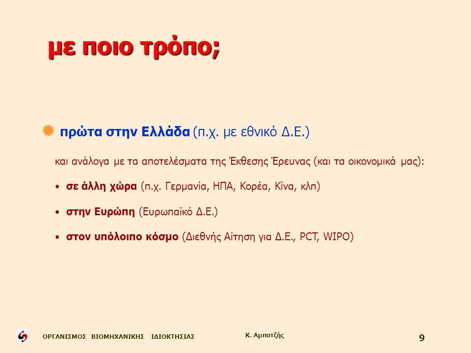 ΟΡΓΑΝΙΣΜΟΣ ΒΙΟΜΗΧΑΝΙΚΗΣ ΙΔΙΟΚΤΗΣΙΑΣ Κ. Αμπατζής 9 με ποιο τρόπο;  πρώτα στην Ελλάδα (π.χ. με εθνικό Δ.Ε.) και ανάλογα με τα αποτελέσματα της Έκθεσης