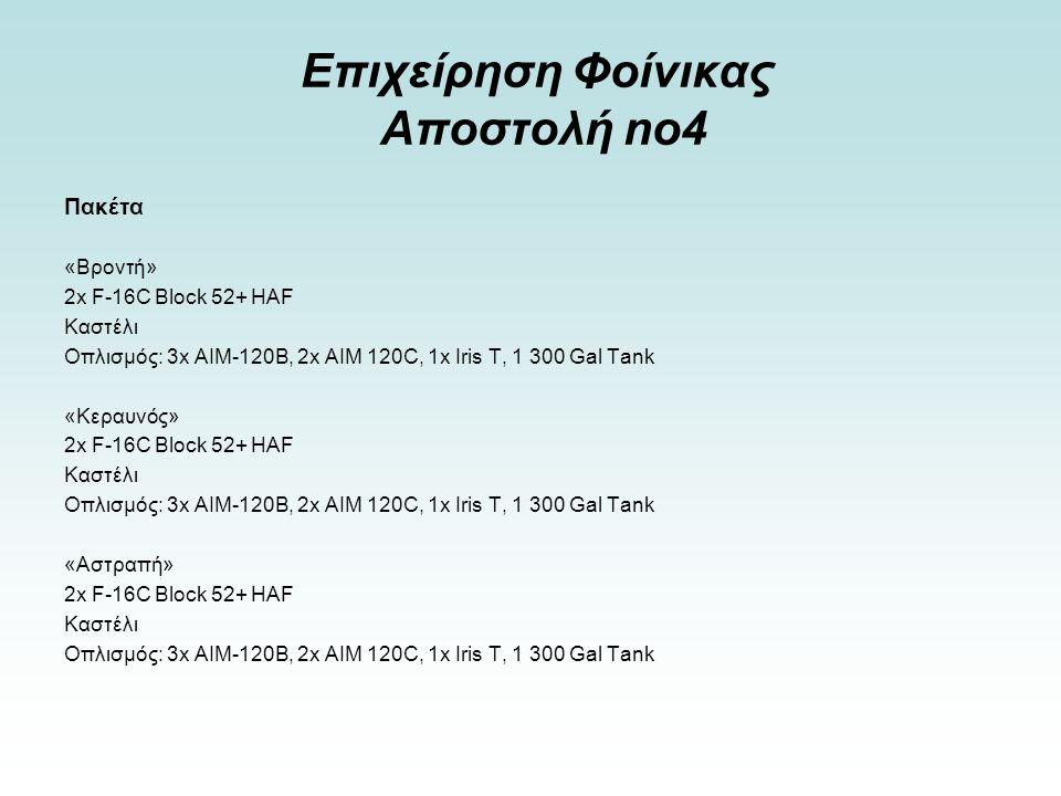 Επιχείρηση Φοίνικας Αποστολή no4 Πακέτα «Βροντή» 2x F-16C Block 52+ HAF Καστέλι Οπλισμός: 3x ΑΙΜ-120Β, 2x ΑΙΜ 120C, 1x Iris T, 1 300 Gal Tank «Κεραυνός» 2x F-16C Block 52+ HAF Καστέλι Οπλισμός: 3x ΑΙΜ-120Β, 2x ΑΙΜ 120C, 1x Iris T, 1 300 Gal Tank «Αστραπή» 2x F-16C Block 52+ HAF Καστέλι Οπλισμός: 3x ΑΙΜ-120Β, 2x ΑΙΜ 120C, 1x Iris T, 1 300 Gal Tank