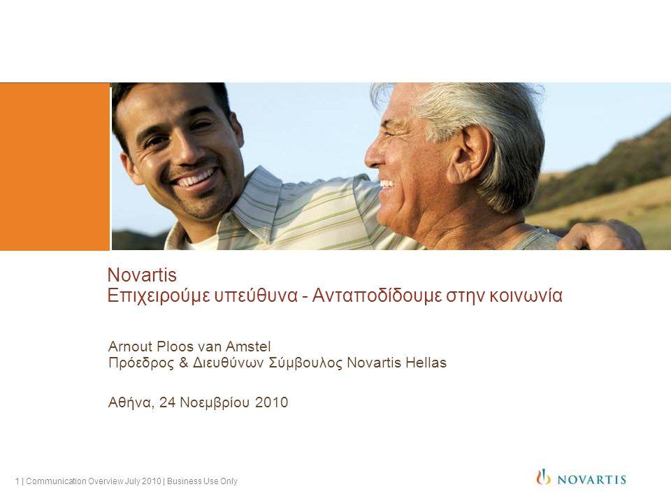 1 | Communication Overview July 2010 | Business Use Only Novartis Επιχειρούμε υπεύθυνα - Ανταποδίδουμε στην κοινωνία Arnout Ploos van Amstel Πρόεδρος & Διευθύνων Σύμβουλος Novartis Hellas Αθήνα, 24 Νοεμβρίου 2010