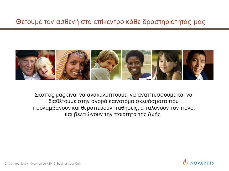2 | Communication Overview July 2010 | Business Use Only Θέτουμε τον ασθενή στο επίκεντρο κάθε δραστηριότητάς μας Σκοπός μας είναι να ανακαλύπτουμε, ν