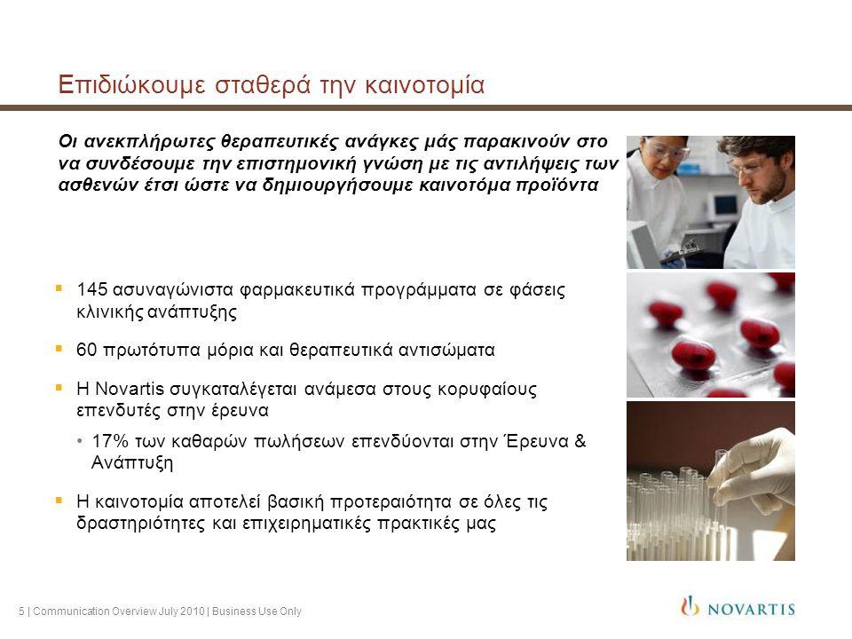 6 | Communication Overview July 2010 | Business Use Only Ινστιτούτα Βιοϊατρικών Ερευνών της Novartis Novartis Institutes for BioMedical Research (NIBR) Εφαρμόζοντας επαναστατικές μεθόδους στην ανακάλυψη φαρμάκων  Μοναδική στρατηγική έρευνας υπαγορευόμενη από τις ανάγκες των ασθενών  Άριστη οργανωτική δομή έρευνας με 6.000 επιστήμονες παγκοσμίως  Σύνδεση του ερευνητικού εργαστηρίου με την κλινική πράξη  Η διεξαγωγή μελετών Proof-of-Concept (Επαλήθευση της Θεωρίας) επιταχύνει σημαντικά την ανάπτυξη φαρμάκων, έτσι ώστε αυτά να είναι διαθέσιμα στους ασθενείς στο συντομότερο δυνατό χρόνο  Στρατηγικές συνεργασίες με 300 Ακαδημαϊκά Ιδρύματα και εταιρείες βιοτεχνολογίας ενισχύουν το προκλινικό πρόγραμμα μελετών Η έδρα των Ινστιτούτων στο Cambridge της Μασαχουσέτης